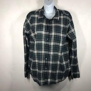 J.Crew green plaid button down blouse size 8